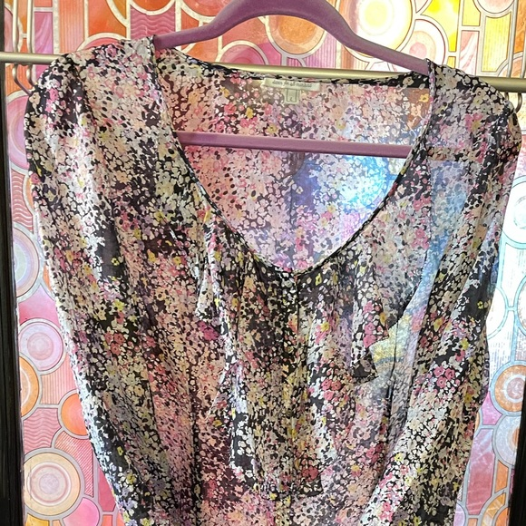 7 For All Mankind Large sheer top w/ ruffled neck